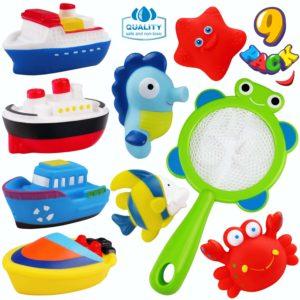 Jeicy Bath Toys Boat Ocean Animals Fishing Bathtub Toys for Toddler Baby Boys Girls