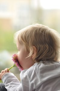 kid smelling